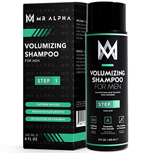 Hair Growth Volumizing Shampoo for Men, 8oz – Hair Loss Prevention Treatment with Dht Blockers, Caffeine, Saw Palmetto For Pattern Baldness, Receding Hairline, Thinning Hair – Made In USA by MR ALPHA