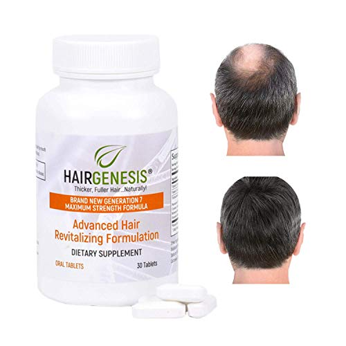 HairGenesis Advanced Formula Hair Growth Tablets (30 Count) – Hair Growth Pills & Anti Hair Loss Supplement for Regrowth of Thinning & Fine Hair in Men & Women – 100% Safe & Natural with DHT Blocker