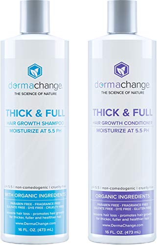 Natural Hair Growth Shampoo and Conditioner Set – Sulfate Free, Vegan, Thicker Hair Regrowth with Vitamins – Hair Loss & Thinning Products – Curly or Color Treated Hair – For Men and Women – (16oz)