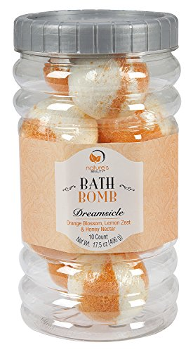 Nature's Beauty Dreamsicle BATH BOMB Gift Set (Orange Blossom, Lemon Zest & Honey Nectar: contains 10 pack – 1.75oz ea Bath Bombs), Spa Bomb Fizzies, Non-staining, Natural Ingredients, Hand Crafted