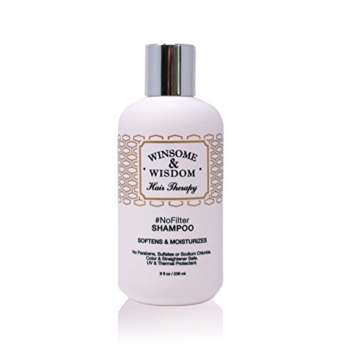 NoFilter Moisturizing Daily Shampoo Moroccan Argan Oil 8.5 oz Alcohol Paraben Sulfate Free UV & Thermal Protectant Dry Curly Straight Women Men Kids Winsome & Wisdom Cruelty Free Hair Care Products