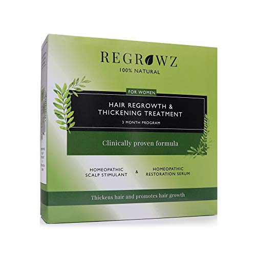 REGROWZ Women's 100% Natural Topical Hair Restoration Treatment for Regrowth, Hair Loss, Thinning, DHT Blocker Clinically Proven with Allium Cepa, Ocimum Sanctum (3 Months)