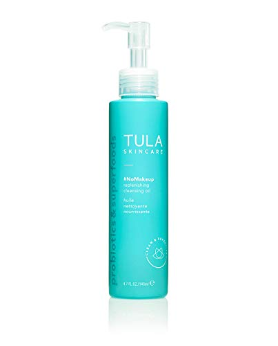 TULA Skin Care #nomakeup Replenishing Cleansing Oil   Oil Cleanser and Makeup Remover, Gently Clean and Remove Stubborn Makeup and Residue   4.7 oz.