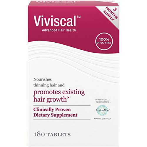Viviscal Women's Hair Growth Supplements with Proprietary Collagen Complex, 1 Selling for Clinically Proven Results of Thicker, Fuller Hair; Nourish Thinning Hair (180 Tablets – 3 Month Supply)