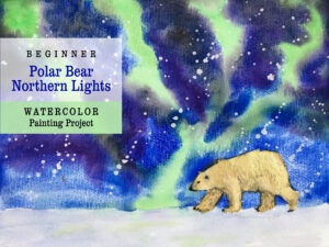 Polar Bear Northern Lights Watercolor Painting Tutorial Homeschool Project