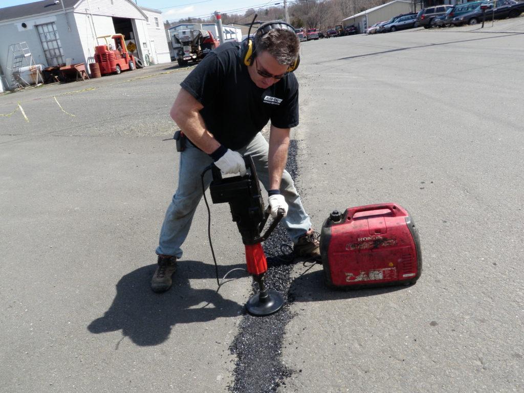 Wide Crack Repair in Commercial Parking Lot
