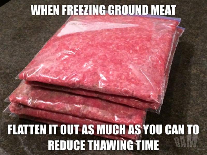 Aplasta la carne antes de congelarla