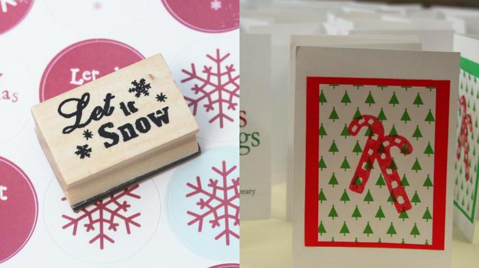 Postales navideñas con decoraciones en sellos