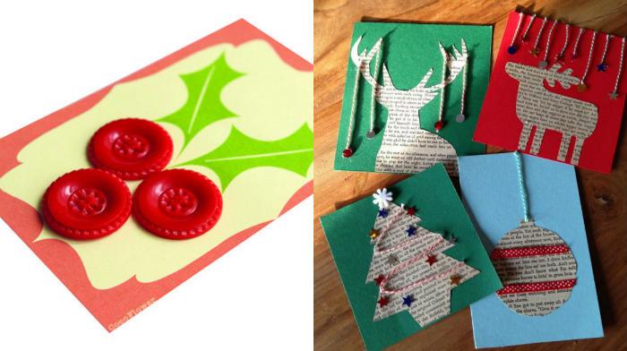 Tarjetas navideñas con adornos caseros