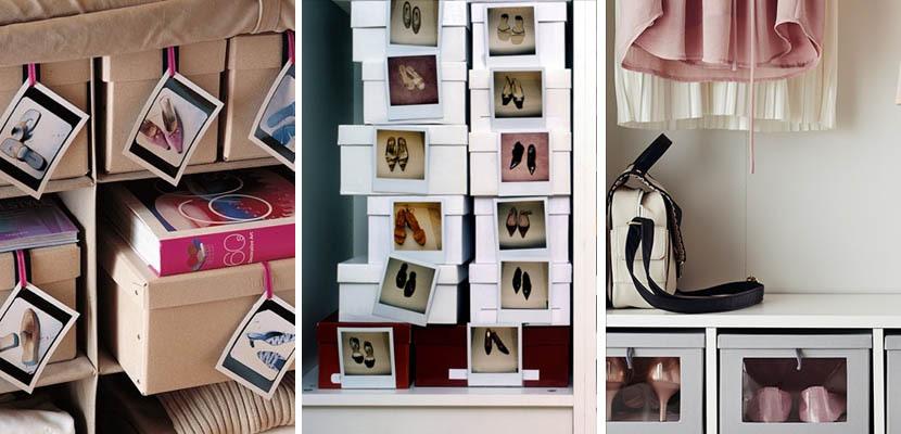 Cajas de zapatos identificadas con fotografías