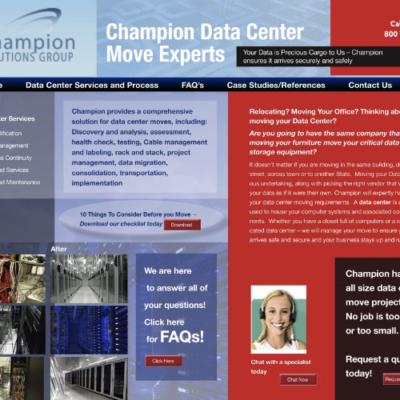 Website design for Champion Solutions Group, and online backup service organization based out of South Florida