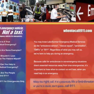 Website design for When to Call 911, a site developed to educate Lake and Sumter County Residents about 911 Services.