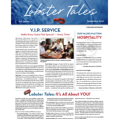 Publication for Red Lobster (Darden Restaurants) entitled 'Lobster Tales' - an internal marketing communications periodical.