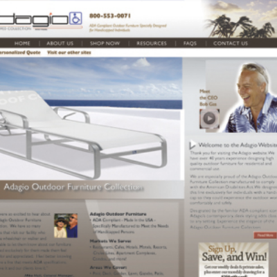 Website design for Adagio Company, handicapped-accessible furniture for cruise lines