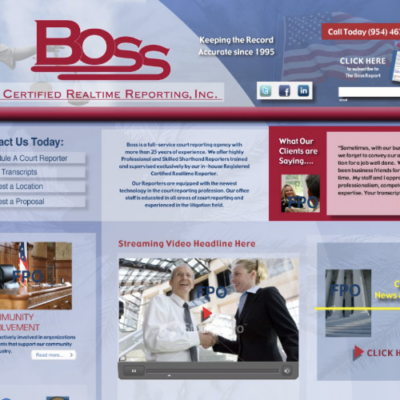 Website design for Boss Certified Realtime Reporting, a court reporting company based out of South Florida