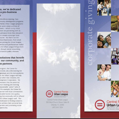 Brochure for Central Florida Urban League, a not-for-profit organization assisting in the advancement of those in need in Central Florida with education and career opportunities