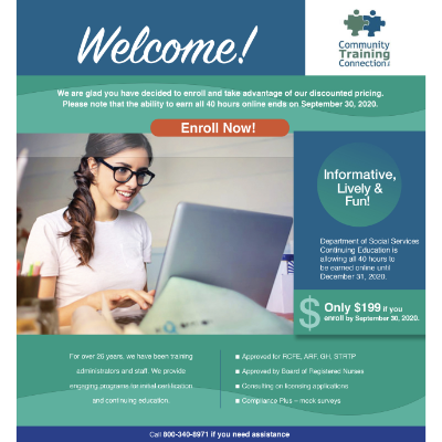 Landing page for Community Training Connection used in conjunction with eblast and direct mail
