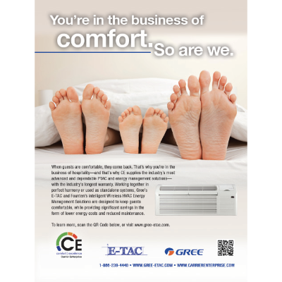 Ad designed for Carrier Enterprise, a hospitality company specializing in heating and cooling and energy management solutions.