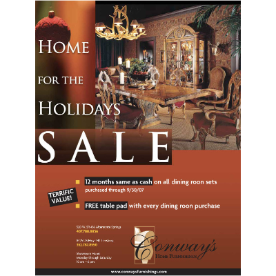 A holiday ad designed for Conway Home Furnishings, an upscale retailer of fine home furnishings.