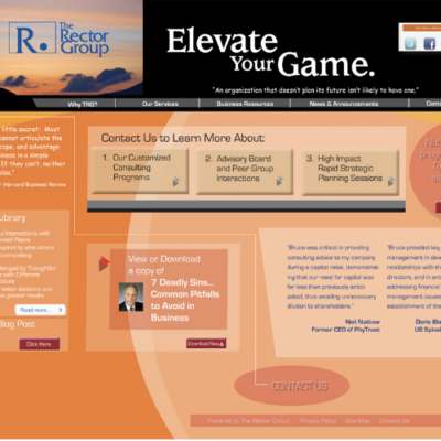 Website design for The Rector Group's program 'Elevate Your Game,' a consulting and business management service
