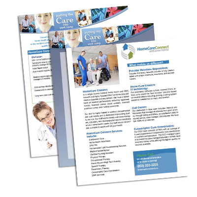 Design and branding of print collateral for Healthcare Connect, an in-home healthcare company for Worker's Compensation recipients.