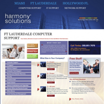 Website design for Harmony Solutions, an IT/ computer support organization based out of South Florida