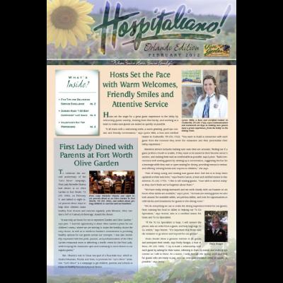 Publication for Olive Garden (Darden Restaurants) entitled 'Hospitaliano' - an internal marketing communications periodical.