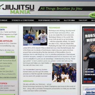 Website design for Juijitsu Mania, All things Brazilian Jiu Jitsu company promoting the strength and conditioning as well as the lifestyle of jiu jitsu.