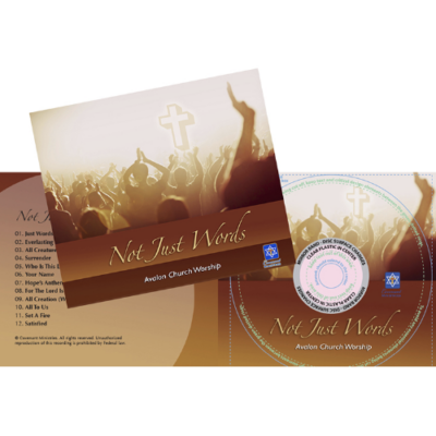 CD packaging design for 'Not Just Words' music compact disc, geared toward Christian audience.