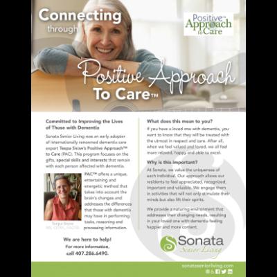 Promotional Flyer for Sonata Senior Living, used both for print and social media