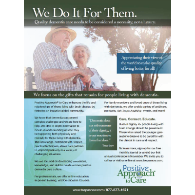 Ad for Positive Approach to Care used for print and social media