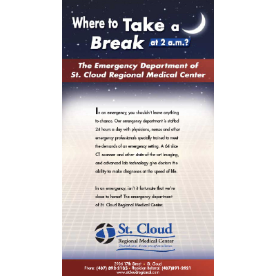 An ad designed for St. Cloud Regional Medical Center, Emergency Department.