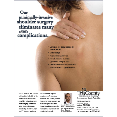 TRICOUNTY2 An ad designed for Tri-County Orthopaedic Center (in Leesburg, Florida) for minimally-invasive shoulder surgery