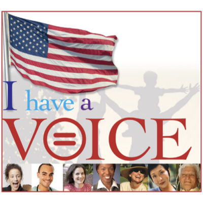 'I Have a Voice' pin design, for the City of Orlando, to promote voting in local elections.