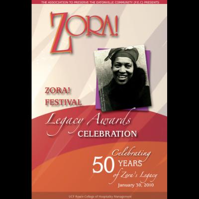 ZORA LEGACY PROGRAM COV 'Celebrating 50 Years' Brochure for Zora Neale Hurston Museum in Eatonville, Florida