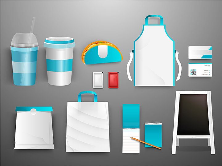 Promotional products ready to be branded: cups, bags, notepad, card, poster