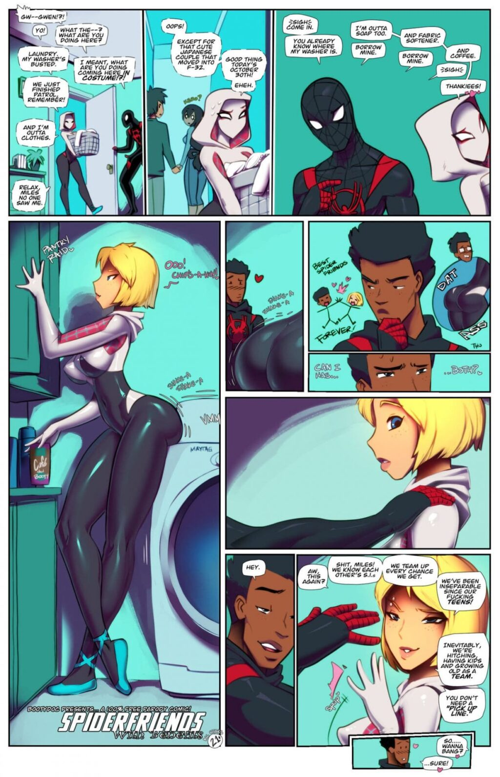 Spidergwen-hentai-manga-cartoon-porn-comics-yoga-pants-latex-bodysuit-costume-super-hero-marvel-Spider-Gwen-stacy-spider-man-Miles-Morales-melanated-full-color-interracial-spider-verse-Spiderfriends-with-benefits
