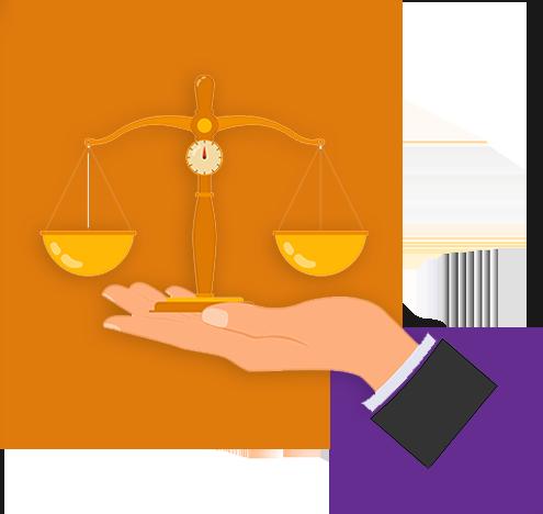 Ilustração mostra uma mão segurando uma balança. Ao fundo da imagem há um quadrado laranja maior e outro roxo menor.