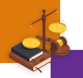 An illustration shows a set of scales, two books and a wooden gavel on a round wooden base. There is a large orange square and another smaller purple one in the background of the image.