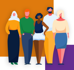 An illustration shows a diverse group of people of different genders, races and religious beliefs. There is a large orange square and another smaller purple one in the background of the image.