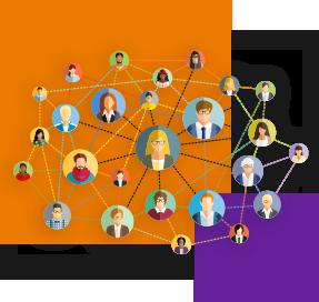 Ilustração mostra vários rostos diferentes dentro de esferas interligadas por linhas formando uma rede de conexões. Ao fundo da imagem há um quadrado laranja maior e outro roxo menor.