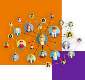 An illustration shows several different faces, all of which are within spheres that are interconnected by a series of lines, forming a network. There is a large orange square and another smaller purple one in the background of the image.