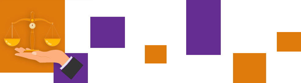 The illustration shows a hand holding a pair of scales. There is a large orange square and another smaller purple one in the background of the image.