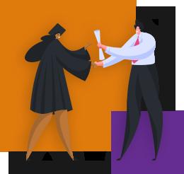 Ilustração mostra um homem de calça social, camisa branca e gravata escura entregando um diploma para uma mulher com beca de formando. Ao fundo da imagem há um quadrado laranja maior e outro roxo menor.