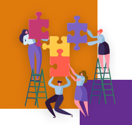 Ilustração mostra um grupo de pessoas montando juntas um quebra-cabeça de peças grandes. Ao fundo da imagem há um quadrado laranja maior e outro roxo menor.