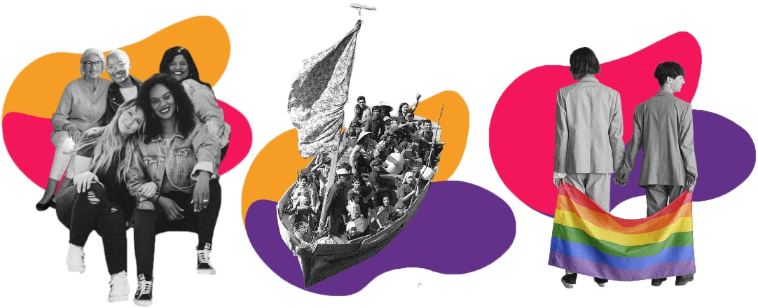 Three photos in a sequence. A black-and-white photo with a group of women of varying ages and ethnicities hugging each other and smiling. There is a round magenta and orange shape in the background. A black-and-white photo of a boat filled with refugees. There is a round purple and orange shape in the background. A black-and-white photo of a couple with undefined gender facing away from the camera. They are wearing pants and jackets and holding a colorful rainbow flag. There is a round magenta and purple shape in the background.