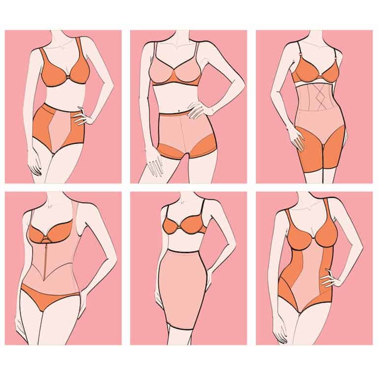 the best shapewear for lower belly pooch - different types of shapewear illustration