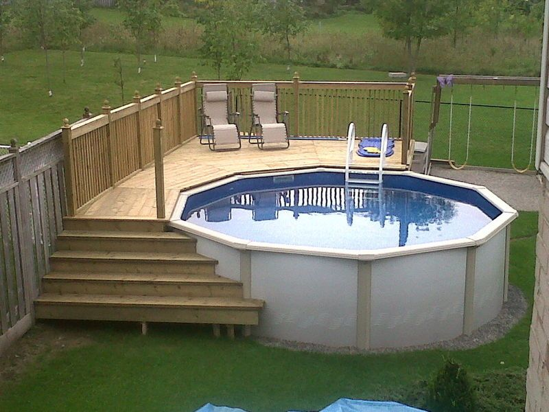 simple above ground pool set-up with 400lb capacity ladder