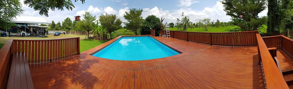 large above ground pool deck with heavy duty pool ladder