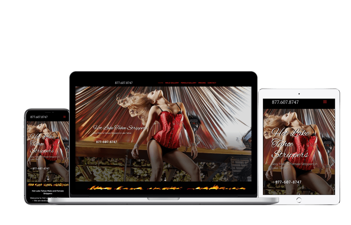 Hot Lake Tahoe Strippers, Website and Graphic Designs by Blue Frog Web Design.